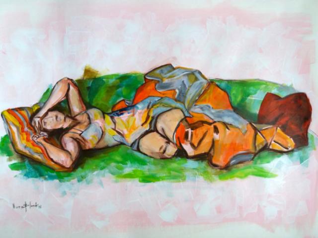 """""""Chrisy"""", Acril auf Büttenpapier, 50 x 70 cm"""