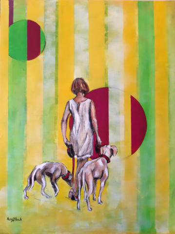"""Lady with dogs"", 70 x 50 x 2 cm, Acryl auf Leinwand, 2020"