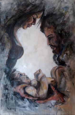 """""""Das erste Wort"""", Mixed Media auf Leinwand, 90 x 60 cm"""